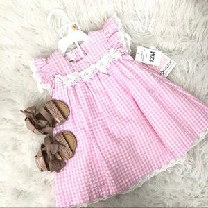 Bonnie Baby Seersucker Outfit Gingham Plaid NEW